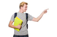 Student pressing virtual button isolated Stock Photo
