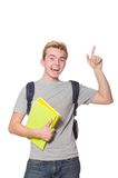 Student pressing virtual button Royalty Free Stock Images