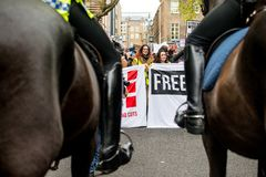 Student protest against education fees and cuts - London, UK. Royalty Free Stock Photography
