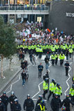Student Protest and March against fee increases. Hundreds of police and riot police, afraid of violence, lead and contain the students march against increases Stock Photography