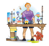 A student (pupil) experimenting in a laboratory stock illustration