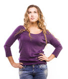 Student in a purple sweater Stock Image
