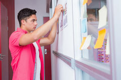 Student putting graphics on the wall Stock Photography