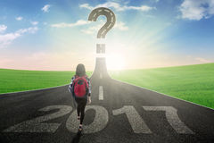 Student with question mark and number 2017 Stock Photos