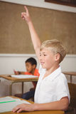 Student raising hand to ask a question Stock Images