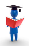 Student reading the book. Abstract blue figure wearing graduation hat and holding big red book Stock Photos