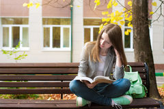 Student reading book on bench Royalty Free Stock Photos