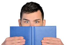 Student  reading book closeup Stock Images