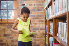 Student reading a book in a library Royalty Free Stock Photos
