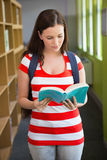 Student reading book in library Royalty Free Stock Photo