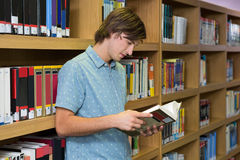 Student reading book in library Royalty Free Stock Image