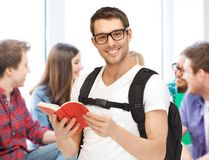 Student reading book at school Royalty Free Stock Images