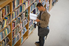 Student reading a book from shelf in library Stock Photography