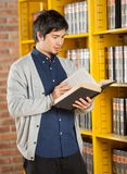 Student Reading Book By Shelf In Library. Male student reading book while standing by shelf in college library Stock Image