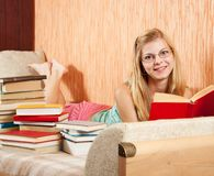 Student reading books royalty free stock image