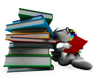 Student Reading Books Showing Learning Stock Image