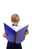 Student reading from his notebook Royalty Free Stock Photography