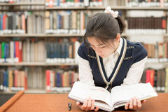 Student reading a textbook in library Royalty Free Stock Photos