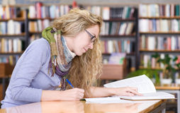 Student reads the book Stock Photo
