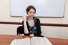 Student reads textbook Stock Photos
