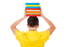Student Rear View with a Books Royalty Free Stock Photography