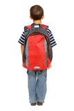 Student: Rear View of Boy with Backpack Stock Images
