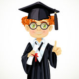 Student redhead boy in glasses holding a diploma Royalty Free Stock Photos