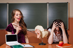 The student responds lesson. Teacher unhappy answer. Stock Photography