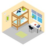 Student Room Isometric Composition Stock Images