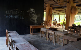 Student room. Romance classroom without student with wooden furniture in thailand royalty free stock photo