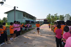 Student Running,School Sport. Sport in School at north province of thailand Stock Image
