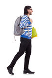 Student rushing to the lesson isolated Royalty Free Stock Photography