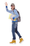 Student rushing to the lesson isolated Royalty Free Stock Images