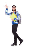 Student rushing to the lesson isolated Royalty Free Stock Photo
