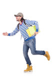 Student rushing to the lesson isolated Royalty Free Stock Image