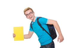 Student rushing to the lesson isolated Stock Images