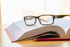 The Students Book. Reading a book using glasses, and taking some annotations with a pencil Stock Photography