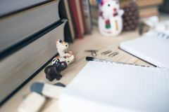 Student`s desk on New Year`s vacation, mess Royalty Free Stock Photos