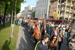 Student s holiday. This is the Korowod 2014 - student s holiday. May 6, 2014. Lublin, Poland Stock Photos