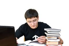 Student`s seaching information. On white bacground royalty free stock photography