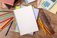 Student school desk with blank books, copy space, homework, studying concept Royalty Free Stock Photos