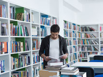 Student in school library Royalty Free Stock Image