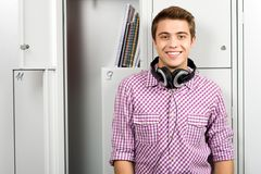 Student by school lockers Royalty Free Stock Photo