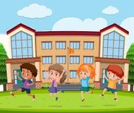 Student at school yard. Illustration vector illustration