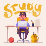 Student or schoolboy studying at the computer. Cartoon vector illustration royalty free illustration