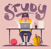 Student or schoolboy studying at the computer. Cartoon vector illustration. Teenager character sitting at desk. Homework and learning concept vector illustration