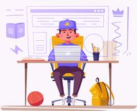 Student or schoolboy studying at the computer. Cartoon vector illustration. Teenager character sitting at desk. Homework and learning concept royalty free illustration