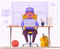 Student or schoolboy studying at the computer. Cartoon vector illustration vector illustration