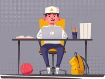 Student or schoolboy studying at the computer. Cartoon vector illustration royalty free stock photo