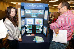 A Student Science Fair Poster being Judged Stock Photography